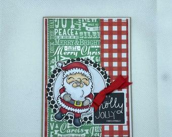 Christmas Card - Merry Christmas, Holly Jolly, Santa, Christmas, Xmas, Santa Claus Xmas Card - Traditional Santa