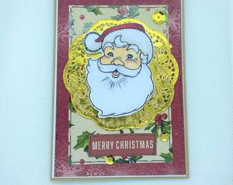 Christmas Card - Merry Christmas, Holly Jolly, Santa, Christmas, Xmas, Santa Claus Xmas Card, Traditional Santa