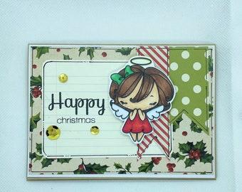Christmas Card - Merry Christmas, Sweet Angel  Christmas, Xmas, Angel Xmas Card, Traditional Christmas - Peace