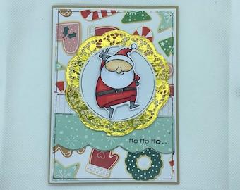 Christmas Card - Merry Christmas, Ho Ho Ho, Santa, Christmas, Xmas, Santa Claus Xmas Card, Cartoon Santa, Teal, Turquoise