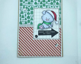 Christmas Card - Merry Christmas, Christmas Cheer, Christmas, Xmas, Xmas Card, dog, puppy,  Christmas Hat, Christmas Scarf