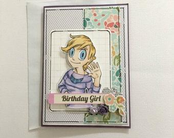 Birthday Card - Birthday Girl - Happy Birthday - Flowers - Purple
