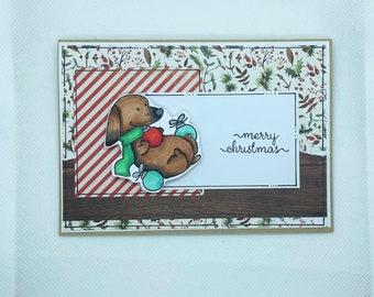 Christmas Card - Merry Christmas, Christmas Joy , Christmas, Xmas, Xmas Card, dachshund, sausage dog, puppy, bauble, wattle, decorations