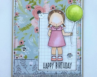 Birthday Card - Little Girl's Birthday - Balloons - Happy Birthday Card - Pink, Floral and Balloons
