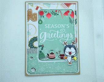 Christmas Card - Merry Christmas, Seasons Greetings, Penguin Reindeer, Christmas, Xmas, Santa Claus Xmas Card, Christmas Cookies