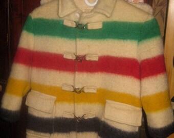 Wonderful Rare Canadian Child's Hudson Bay Blanket Coat, Wool, 1950s
