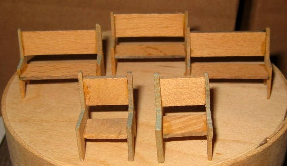 Super Vintage Miniature Wooden Dollhouse Benches And Chairs Germany Short Links Chair Design For Home Short Linksinfo