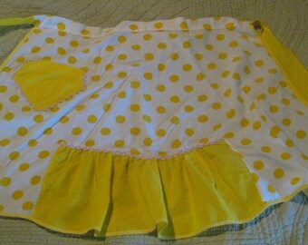 Bright Yellow Vintage Apron, Vintage, Hand Made