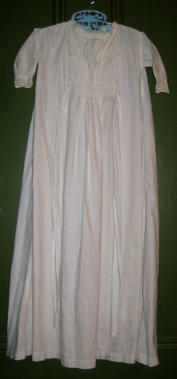 Antique Long Cotton Baby Gown/Christening Gown, Dr