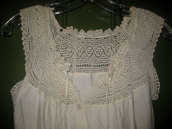 Antique Handmade Cotton and Crochet Camisole, Cors