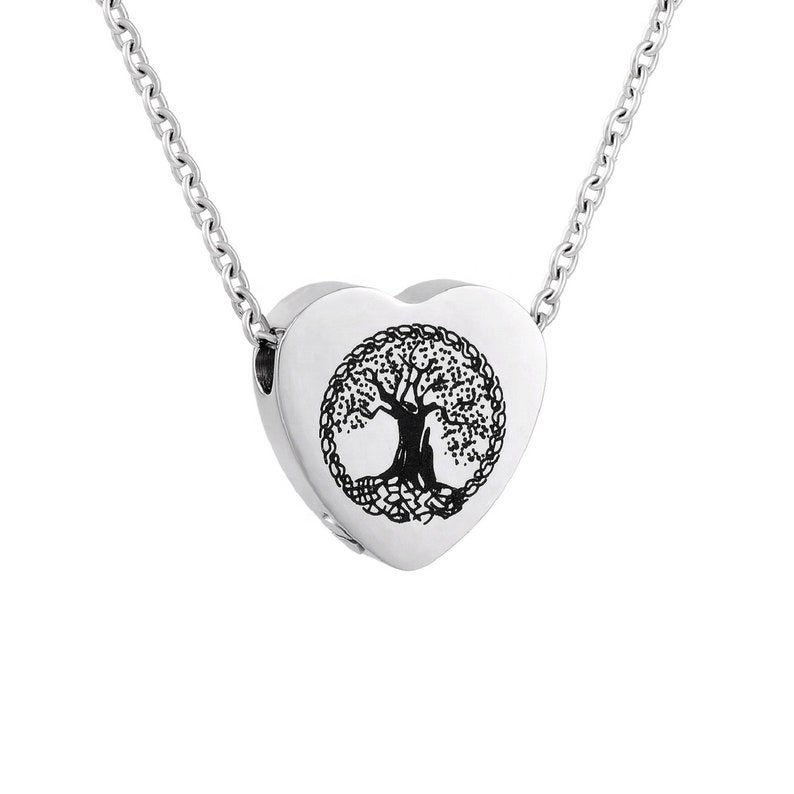 Remembrance Urn Charm Necklace Celtic Tree of Life Heart Urn Necklace Cremation Jewelry