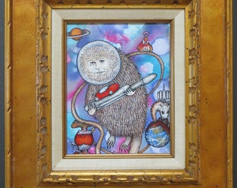 Elongated Muskrat & The Rococo Basilisk Original Painting w/Pen and Ink by Kelly Green Pop Surreal Space
