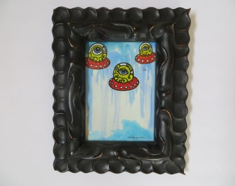 All Seeing Octopus Invasion Delta Team Original Framed Painting w/Pen and Ink Conspiracy Art by Kelly Green