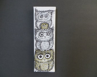 """Original Owl Stack Art Pen & Ink 4 Owls 3"""" x 9"""" on stretched Canvas by Kelly Green"""