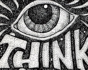 THINK All Seeing Eye Pen and Ink Magnetic Art Puzzle Black & White Drawing Pointillism by Kelly Green