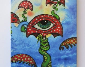The Octopus's Umbrellas Original Art by Kelly Green Conspiracy Mushrooms Tentacles All Seeing Eye