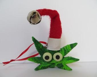 Big 420 Buddy One of a Kind Polymer Clay Art Christmas Cannabis Ornament by Kelly Green Marijuana Leaf Sculpture
