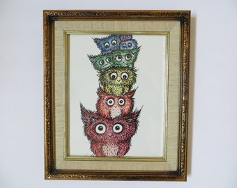Rainbow Owl Stack Original Drawing by Kelly Green Whimsical Owls Framed Art