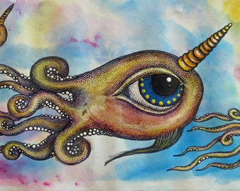 """Narwhalopus Print LARGE 10"""" x 20"""" All Seeing Narwhal Octopus Pop Surreal Art by Kelly Green"""