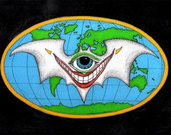 The Joker Bat Framed Print Batman Global Bat Conspiracy Art by Kelly Green