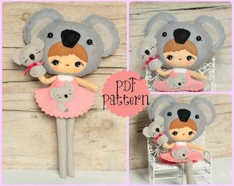 PDF. Koala girl with puppet. Plush Doll Pattern, Softie Pattern, Soft felt Toy Pattern.