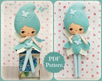 PDF. Blue fairy doll. Plush Doll Pattern, Softie Pattern, Soft felt Toy Pattern.