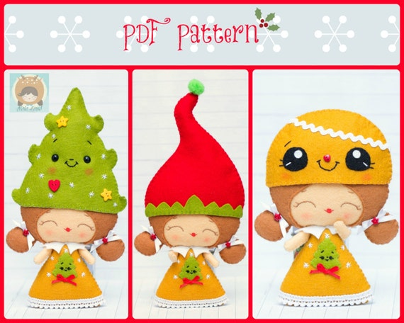 PDF Pattern Elf Girl With Christmas Hats Elf Hat Christmas Etsy Magnificent Elf Pattern