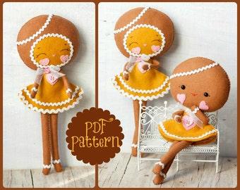 PDF. Gingerbread girls .Plush Doll Pattern, Softie Pattern, Soft felt Toy Pattern.