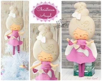 PDF. Christmas angel doll. Plush Doll Pattern, Softie Pattern, Soft felt Toy Pattern.