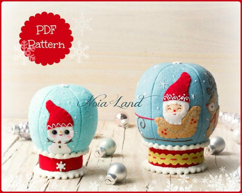 Snowglobes. PDF Pattern. Christmas Santa and Snowman image 0