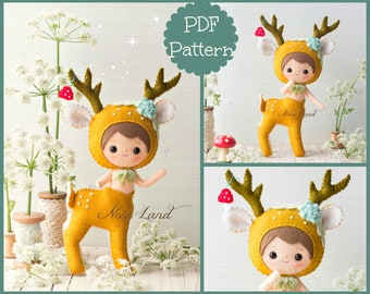 PDF. Deer Centaur. Plush Doll Pattern, Softie Pattern, Soft felt Toy Pattern.