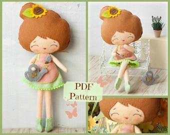 PDF pattern. Florist doll. Plush Doll Pattern, Softie Pattern, Soft felt Toy Pattern.