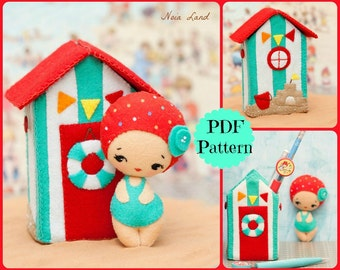PDF. Beach house with doll. Plush Doll Pattern, Softie Pattern, Soft felt Toy Pattern.