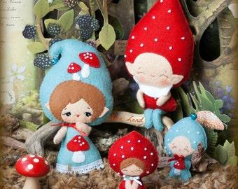 PDF. Gnome family. Murshroom elves. Plush Doll Pattern, Softie Pattern, Soft felt Toy Pattern.