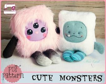 PDF pattern. Cute monsters. Plush Doll Pattern, Softie Pattern, Soft felt Toy Pattern.