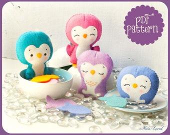 PDF. Penguin family garland. Plush Doll Pattern, Softie Pattern, Soft felt Toy Pattern.