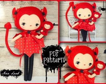 PDF. Devil girl with puppet.Plush Doll Pattern, Softie Pattern, Soft felt Toy Pattern.