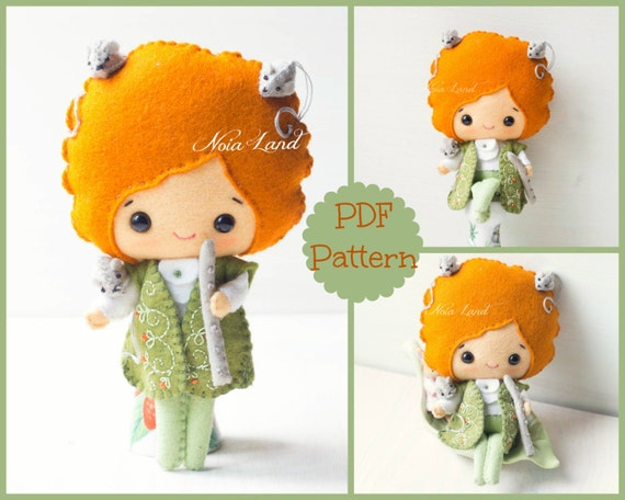 Pied Piper of Hammelin. PDF pattern. Felt doll.