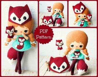 PDF. Fox girl with mask and puppet .Plush Doll Pattern, Softie Pattern, Soft felt Toy Pattern.