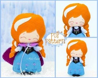 PDF. Anna. Plush Doll Pattern, Softie Pattern, Soft felt Toy Pattern.