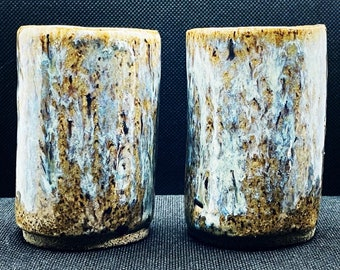 Extrudergirl Handcrafted Ceramic Porcelain Classic Cappuccino Green Shot Glasses  set of 2