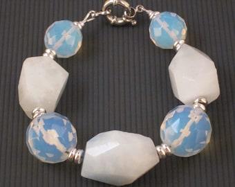 Opalite (Sea Opal) and Hemimorphite Bracelet