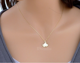Gift necklace, Ginkgo leaf necklace, dainty small charm necklace jewelry for her, Sterling silver / Gold filled chain, B9studio