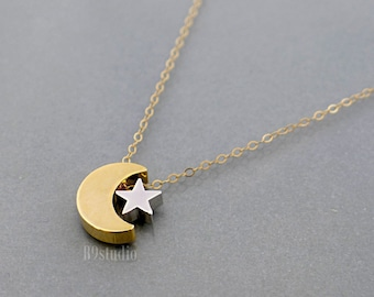 Star Moon Necklace, Gold crescent moon silver star necklace, Everyday jewelry, Holidays gift by B9studio