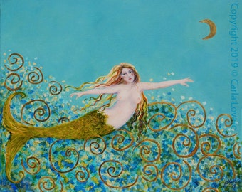 Mermaid Painting, Original oil painting, Nude mermaid, Nautical Art, Oil on Canvas,  16 x 20 inches, With 23 kt gold accents