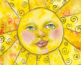 Sun face, Sun face wall art, 8x10 Giclee Print, sun face painting, Watercolor of Sun, Yellow sun face, Childs decor, Sun goddess painting