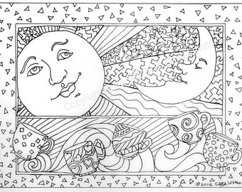 sun and moon coloring pages for adults coloring pages Skeleton Wedding Color Page Day of the Dead | Etsy sun and moon coloring pages for adults