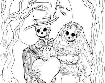 Skeleton Coloring Etsy