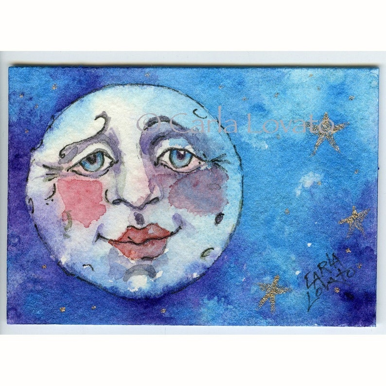 Blue Moon watercolor painting 5 x 7 Giclee print Moon and image 0
