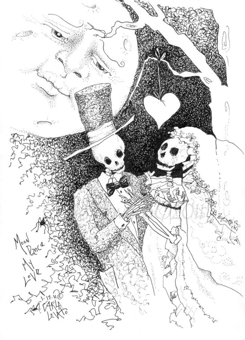 Skeleton art Day of the dead wedding skeleton bride Print image 0